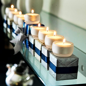 Present wrapped Hanukkah menorah