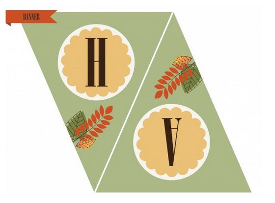 Pretty Free Printable Happy Thanksgiving banner