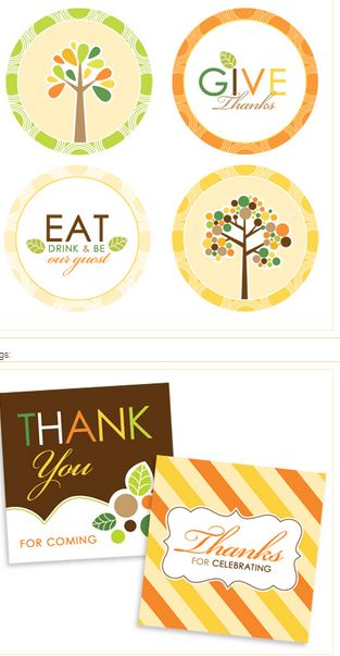 Round and Square tag free Thanksgiving printables
