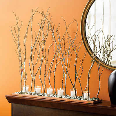 Simple yet totally cool branch centerpiece