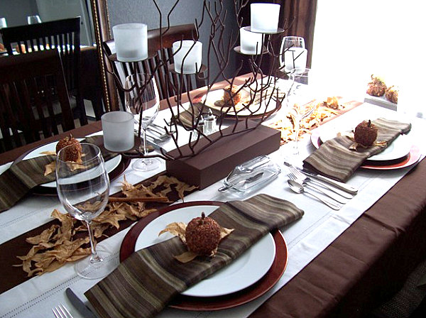 Thanksgiving bronze branch centerpiece