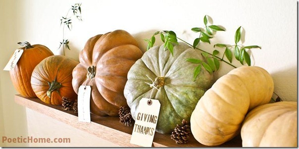 Thanksgiving mantel decorations with Squashes