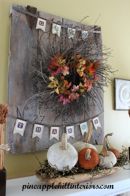 Too Cute give thanks Thanksgiving Mantel