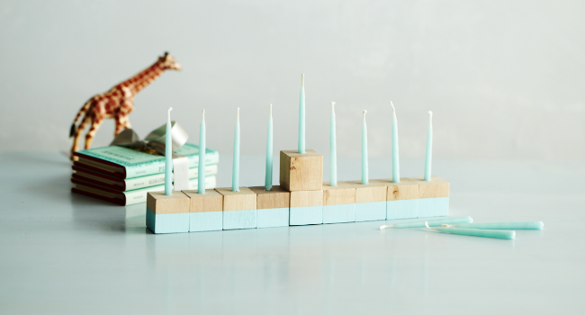 Too cute wooden block menorah display!