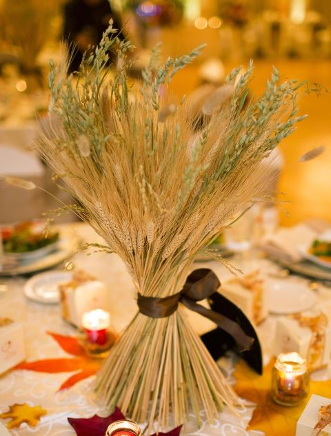 Wheat fall wedding centerpiece