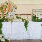 Whimsical garden wedding centerpieces