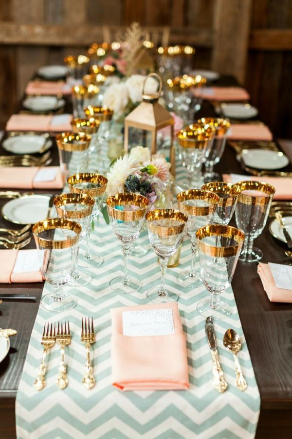 Beautiful Wedding Mint Peach And Gold Tablescape B Lovely Events