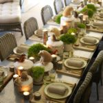 winter tablescape with bear centerpieces