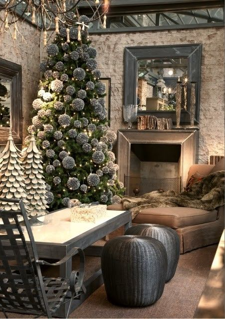 All grey and white Christmas tree