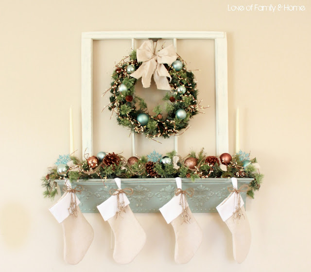 Blue and white Christmas Mantel