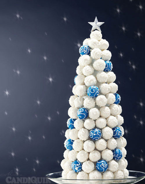 Blue and white Christmas Tree cake bites