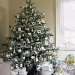 Christmas Tree decorations with gold ornaments
