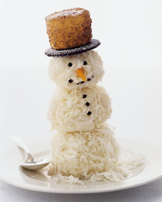 Coconut covered ice cream snowman