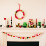 Colorful vintage Christmas Mantel