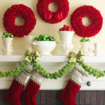 DIY Green and Red Christmas Mantel