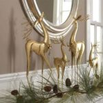 Elegant gold raindeer Mantel decorations