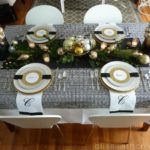 Gold and black Christmas Tablescape