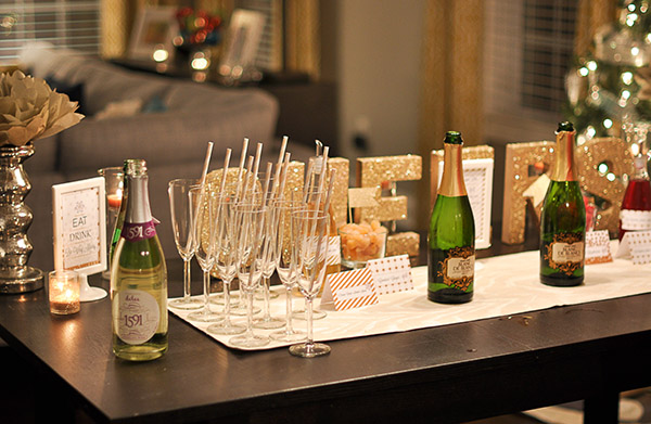 Gold and glittery champagne bar
