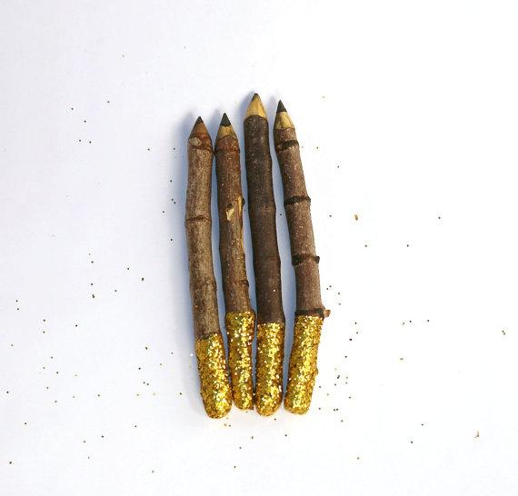 Gold glitter twigs