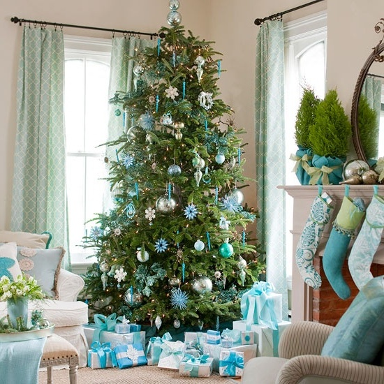 Light blue and white decorated Christmas tree