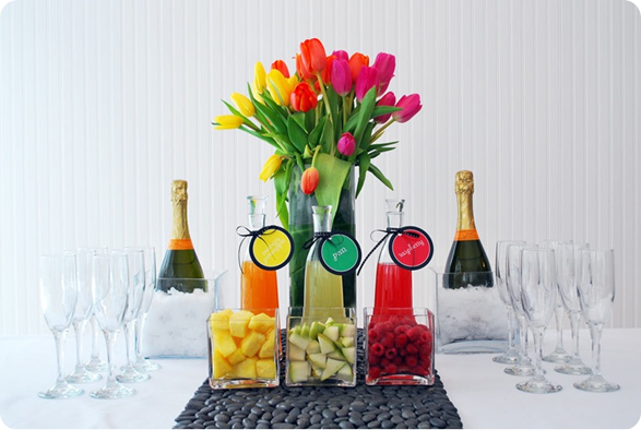 Love this colorful Champagne bar