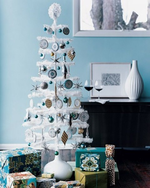 Modern silver and whtie Christmas Tree
