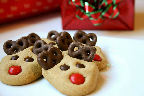 Peanut butter Reindeer cookies with Chocolate ears-perfect right!