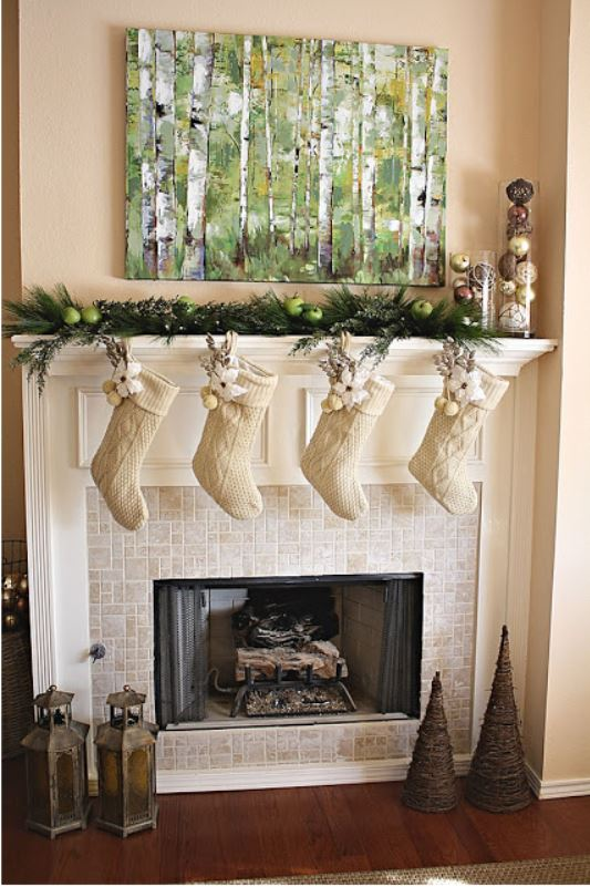 Rustic chic Christmas mantel