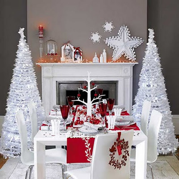 White and Red Christmas Tablescape