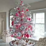 modern pink and silver chirstmas tree