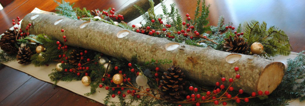 natural christmas centerpiece with evergreen branches