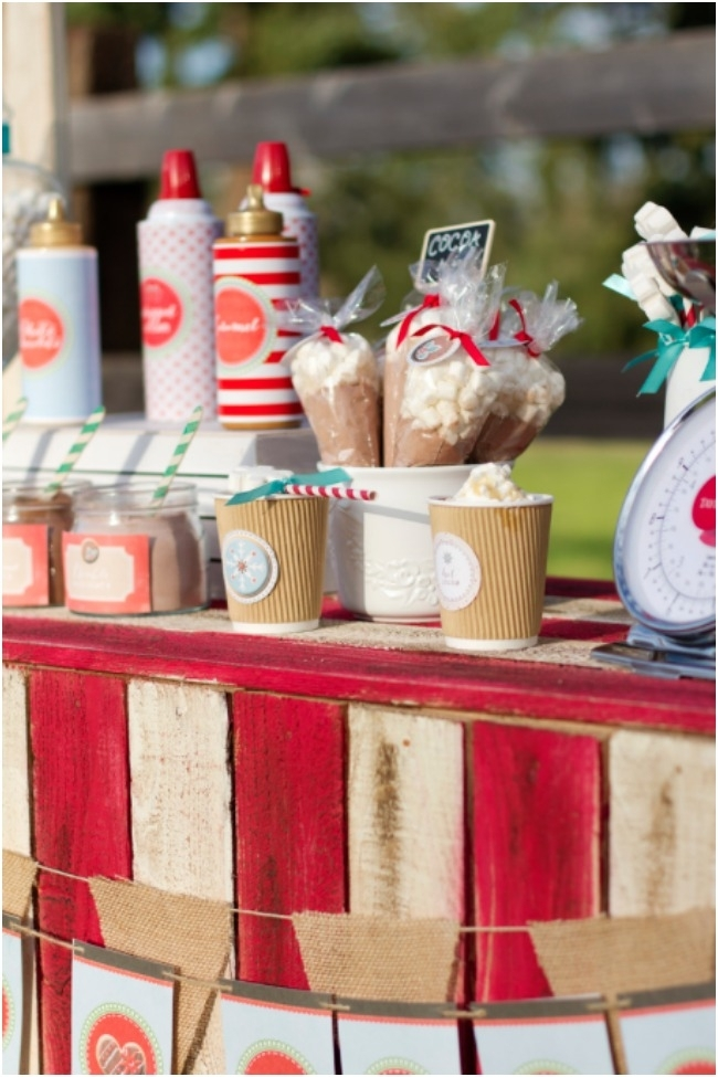 winter christmas hot chocolate bar