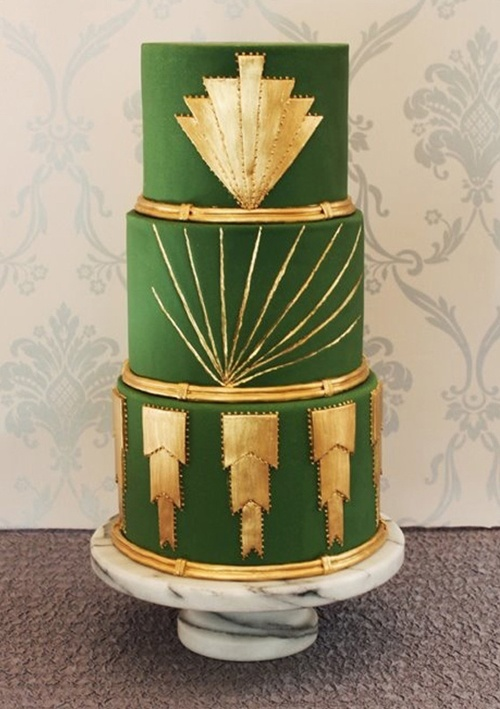 20's themed green and gold engagement party cake