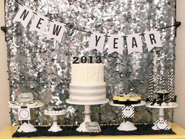 Black and White sparkly New years party