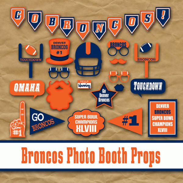 Broncos photo props instant download!