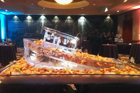 Cute ice sculpture shrimp boat!