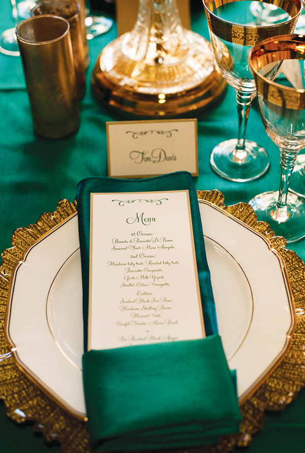 Emerald and gold place setting-perfect for an engagement party