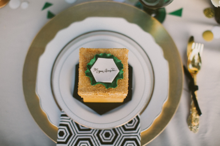 Emerald green place setting at an engagement party