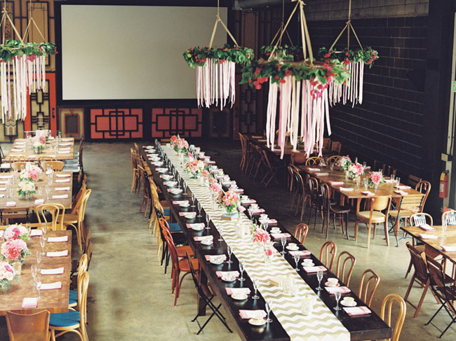 Garden themed wedding with fabulous ribbon chandeliers
