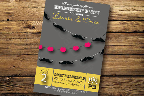 Mustache and lips engagement party invitation