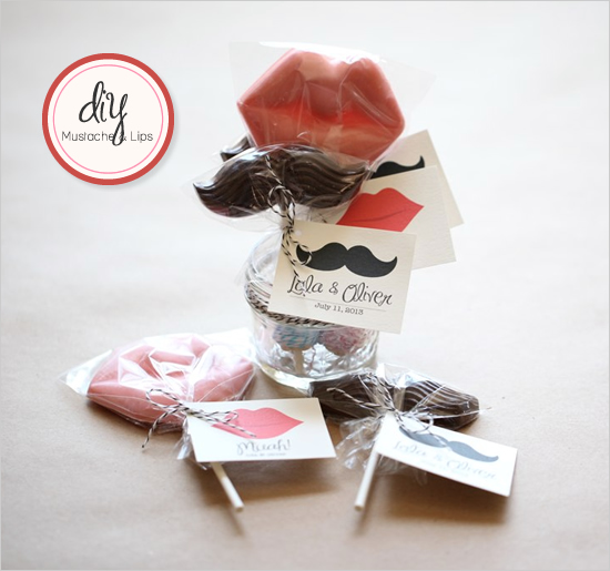 Mustache and lips favors