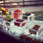 This ice sculpture food display is so neat!