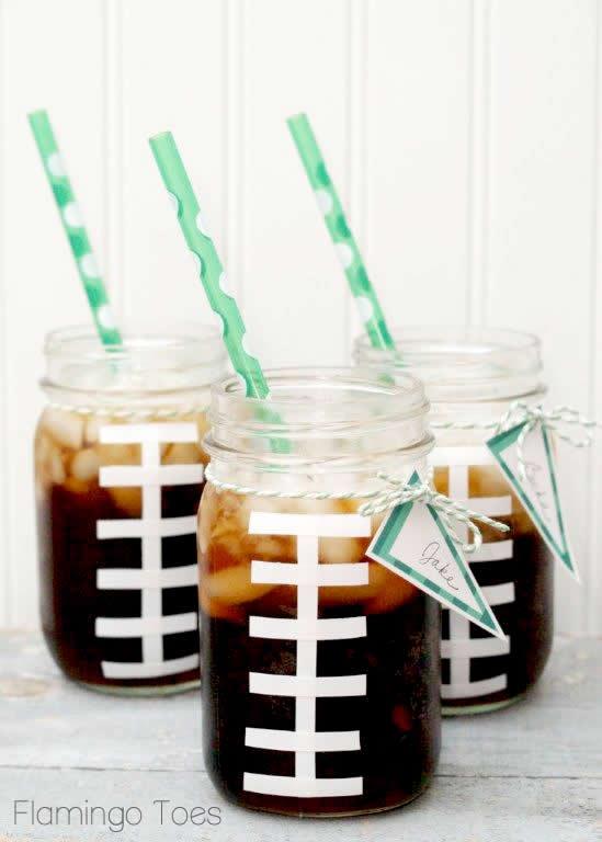 Too cute football mason jars!