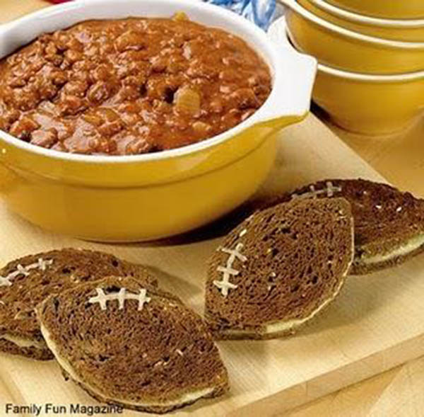 football sandwiches and chili for football parties