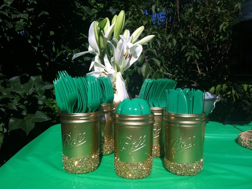 green and gold engagement party decorations