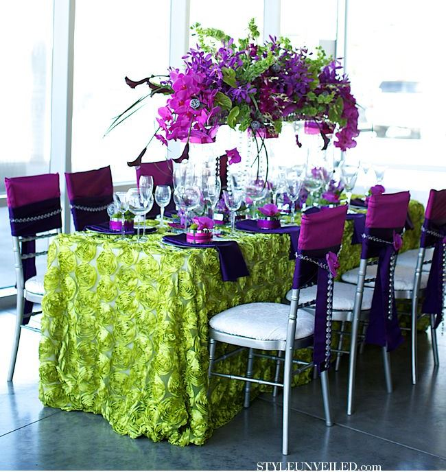 Halloween wedding table decorations - Purple And Green Tablescape B Lovely Events