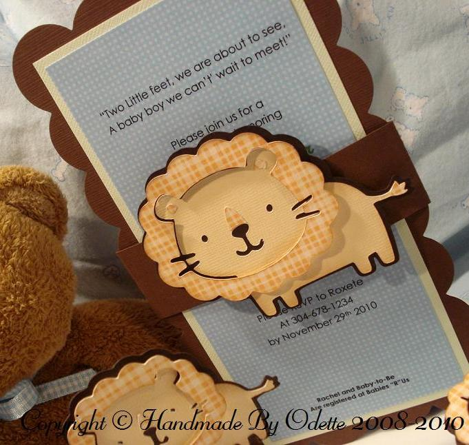 Adorable boys safari baby shower invitation