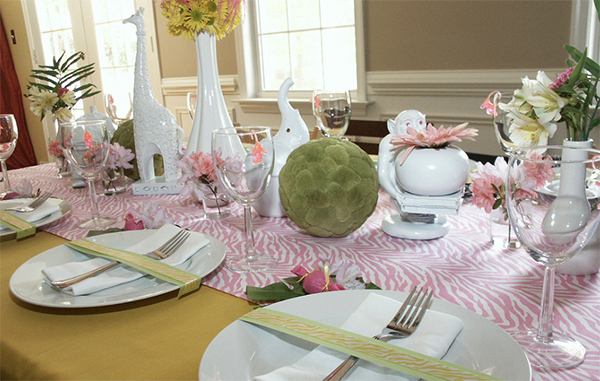 Adorable girls safari tablescape