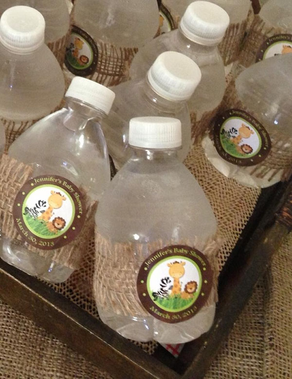 Adorable safari jungle drinks for a baby shower