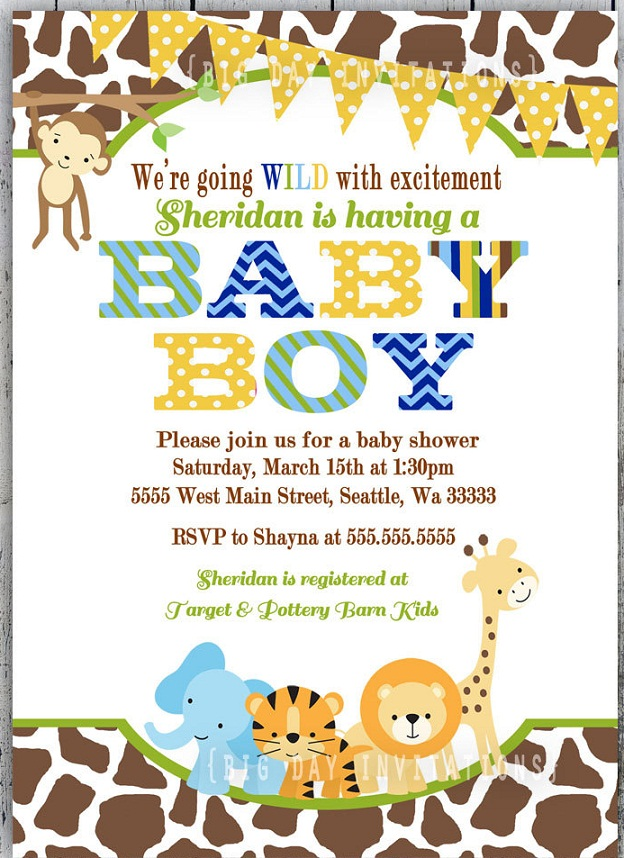 Oh my goodness, this modern boys safari baby shower invitation is